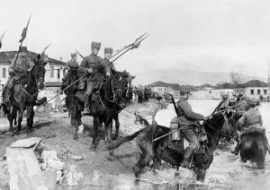 German Hussars Crossing into Serbia, 1915