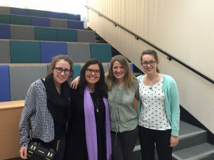 Cris with Lisa Shaw and MLC postgrads as she prepares for her research seminar