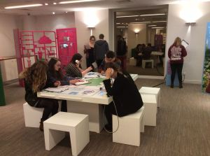 German students at the Erfinderland Deutschland' exhibition