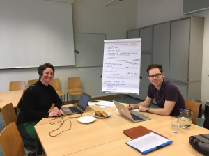 Barbara Soukup & Will Amos discussing ideas in Vienna