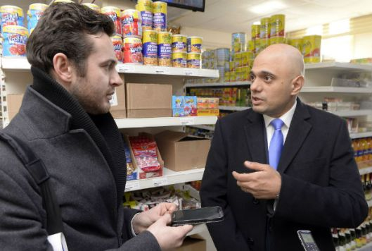 David Taylor with Sajid Javid, MP, Secretary of State for Business, Innovation and Skills