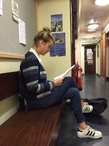 Phoebe Atkinson preparing for her French oral examination