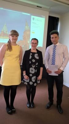 Natalie Thompson, Lauren Newsham and Martin Matičević after their business German presentations