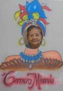 A participant at Dr Shaw's event posing as Carmen Miranda