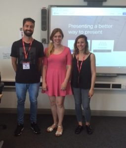 Joan Mas Font (l) and Silvia Gonzalez-Barroso (r) with Luz Torres (centre) at South Sefton College