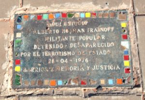 Tile placed by a family of disappeared in front of the Law Faculty building