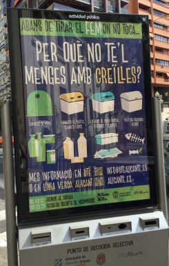 A Valencian-language recycling poster, captured by Elizabeth Burgess in Alicante in 2016