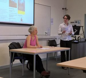 Dr Lyn Marven (right) introduces Ulrike Draesner's Collinson Lecture