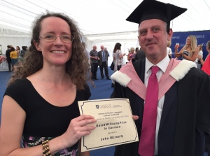 Professor Claire Taylor awards John McInally BA his prize for his work in German