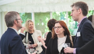 Dr Robert Blackwood (right) at the Santander Universities reception (© University of Liverpool)