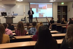 Professor Matthew Philpotts addresses new students at the start of term