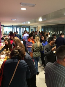 Staff & students gather for refreshments at the end of Welcome Week