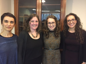 Elizabeth Burgess (second from right) with her supervisors Stefania Tufi (left) and Diana Cullell (right) and external examiner Bernadette O'Rourke (second from left)